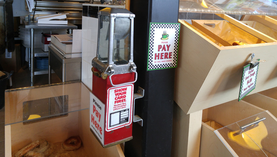 Self Serve Pay Here terminal